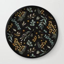 Australian native wattle eucalyptus watercolor floral black Wall Clock