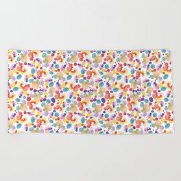 Rainbow Watercolor Circles Beach Towel