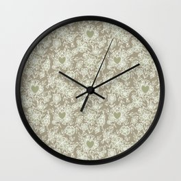 Floral lace hearts on linen Wall Clock