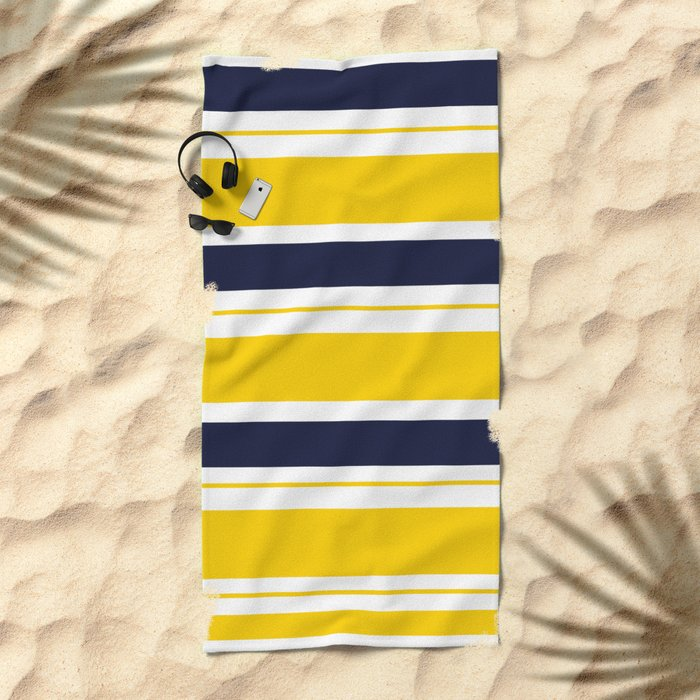 Yellow and Blue Horizontal Lines Stripes Beach Towel