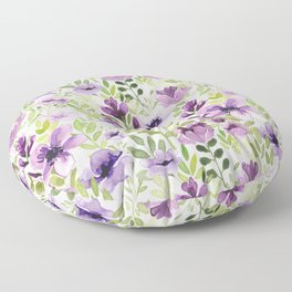 Watercolor/Ink Purple Floral Painting Floor Pillow