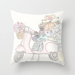 Pink Scooter French Bulldog Cat Road Trip Throw Pillow