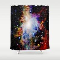 galaxy Shower Curtains featuring GaLaXY : Orion Nebula Dark & Colorful by GalaxyDreams