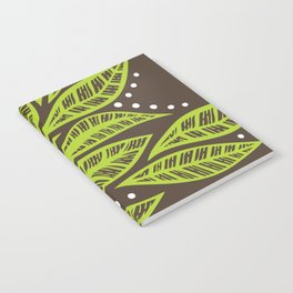 Floral tropical green leaves on brown background Notebook