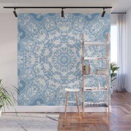 Blue and White Mandala Wall Mural
