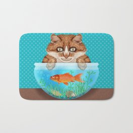 Cat with Goldfish Bowl Whimsical Kitty and Fish Bath Mat