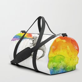 T-Rex Dinosaur Rainbow Puke Taste the Rainbow Watercolor Duffle Bag