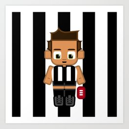 Super cute sports stars - Black and White Aussie Footy Art Print