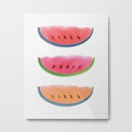 Picnic - Watermelon Watercolor Metal Print