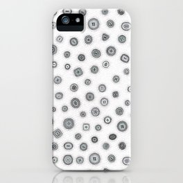 Hand Drawn Buttons Black and White iPhone Case
