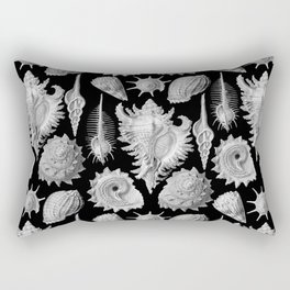 Black and White Beach Shells Rectangular Pillow