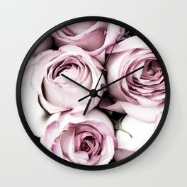A Cascade of Perfectly Pink Roses Wall Clock