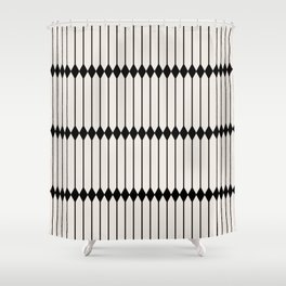 Minimal Geometric Pattern - Black Shower Curtain