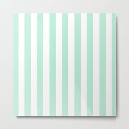 Mint green and White stripes-vertical Metal Print