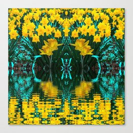 YELLOW DAFFODILS TURQUOISE PATTERNED GARDEN Canvas Print