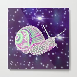 Psychedelic Space Snail Metal Print