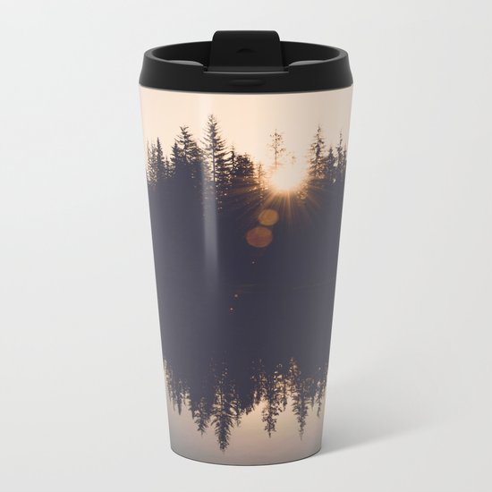 Wooded Lake Reflection Metal Travel Mug