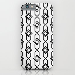 Japanese yukata geometric line pattern in grey iPhone Case