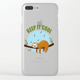Keep It Cool Sloth T Shirt | Sloth T-shirt | Baby Sloth Gift | Sloth Gifts | Gym T Shirt | Funny Clear iPhone Case