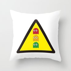 Warning ghosts Throw Pillow