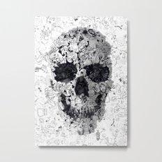 Doodle Skull BW Metal Print