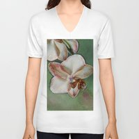 orchid V-neck T-shirts featuring Orchid by LoRo  Art & Pictures