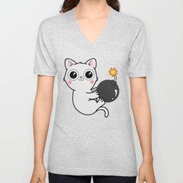 Kitty With a Ball of YaaAAAAA!!! - Explosives Expert Boom Cat Unisex V-Neck