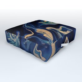 DRAMAQUEEN - GOLD INDIGO MARBLE Outdoor Floor Cushion