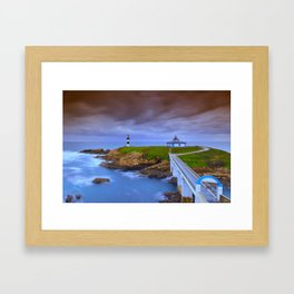 View of Pancha Island in Ribadeo, Lugo before a storm. Framed Art Print
