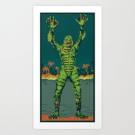 The Creature Surfaces Art Print