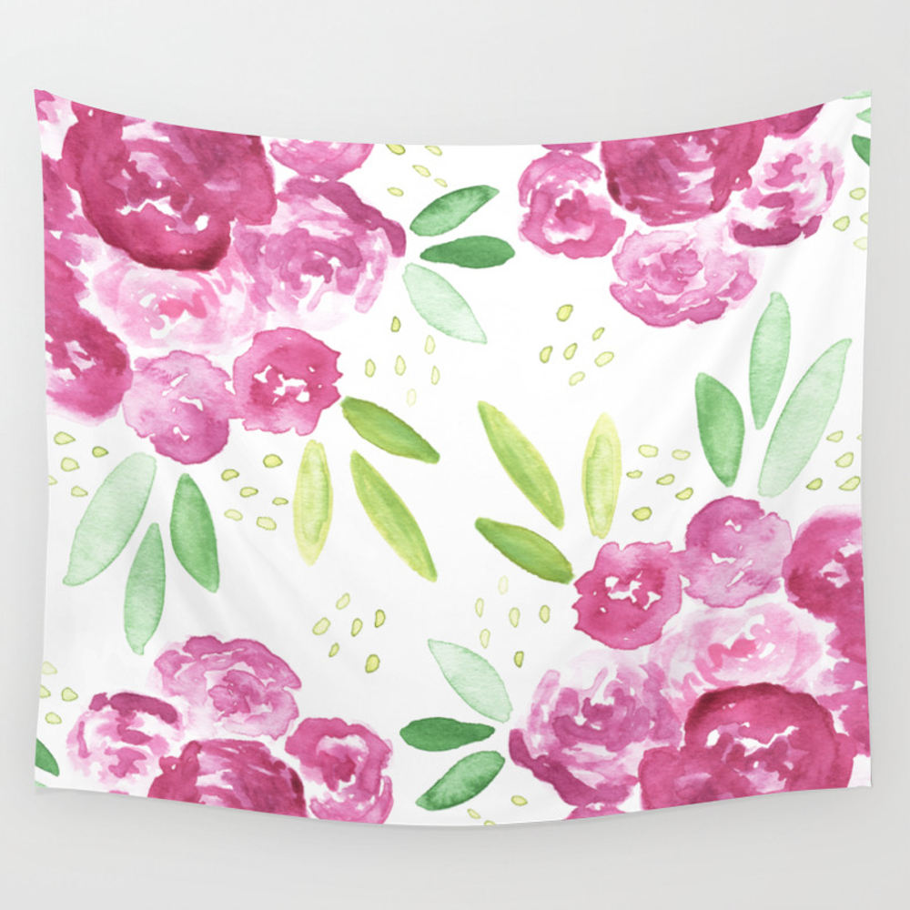Burgundy + Pink Peonies Bouquet Wall Tapestry by Hellomonday TPS6772823