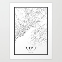 Cebu City Map The Philippines White and Black Art Print