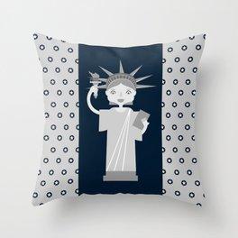 Liberty Statue smiling Throw Pillow