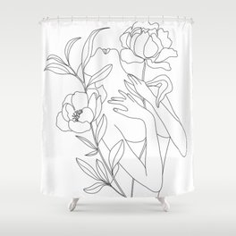 Minimal Line Art Woman with Peonies Shower Curtain