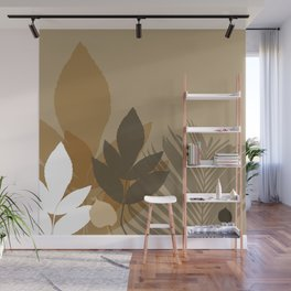 Silhouette leaves in brown and beige Wall Mural