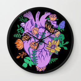 Pastel Goth Anatomical Heart Blooming Flowers Wall Clock