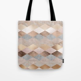 Copper and Blush Rose Gold Marble Argyle Tote Bag