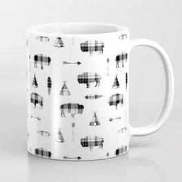 Buffalo Tribe // Grey/Black Plaid Coffee Mug