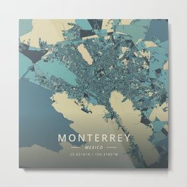Monterrey, Mexico - Cream Blue Metal Print