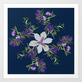 2941 Appleberry Iris P1 Blue Art Print