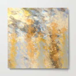 Blue and Gold Spatter Abstract Metal Print