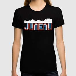 Red White Blue Juneau Alaska Skyline T-shirt