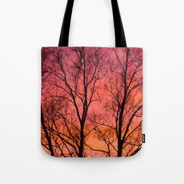 Tree Silhouttes Against The Sunset Sky #decor #society6 #homedecor Tote Bag