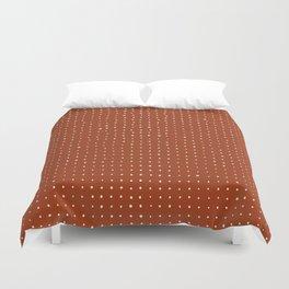 Light grey dots on rust Duvet Cover