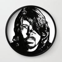 dave grohl Wall Clocks featuring Dave Grohl (2) by Carolyn Campbell