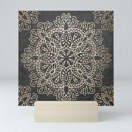 Mandala White Gold on Dark Gray Mini Art Print
