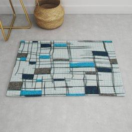 Big Blue Grid Rug