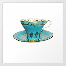 Vintage English Teacup - Blue Art Print