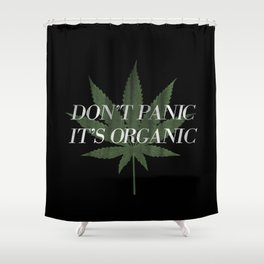 Don't Panic it's Organic Vintage Potleaf Print Shower Curtain