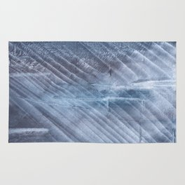 Gray Blue blurred wash drawing Rug